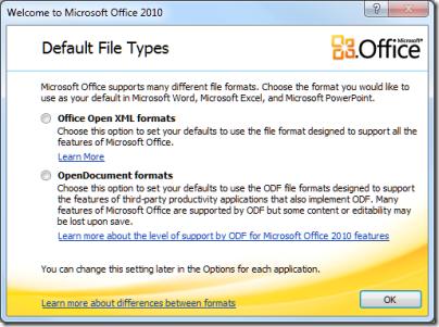 Office 2010 offers choice of Open Document or Microsoft XML ...