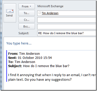 An Outlook mystery resolved: removing the blue bar from ...
