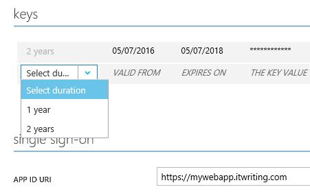 azure ad app registration key