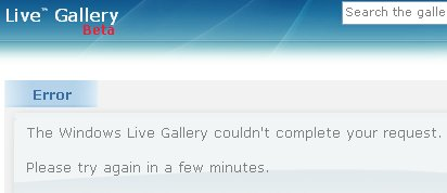 Live gallery reporting an error