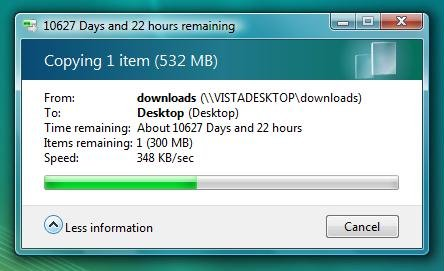 File copy shows 10627 days and 22 hours remaining