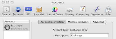 Configuring Snow Leopard Mail to use Exchange