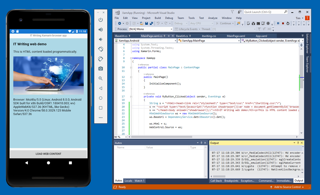 Using the Xamarin WebView for programmatic display of HTML content