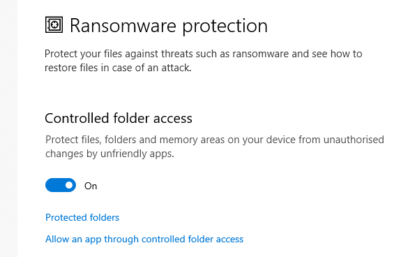 How Windows 10 Ransomware protection can cause install failures